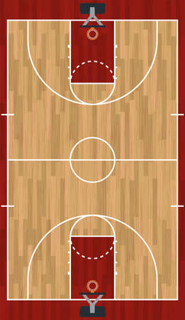 A realistic hardwood textured basketball court illustration. EPS 10. File contains transparencies. 向量圖像