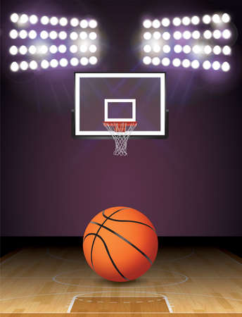 hardwood: An illustration of a basketball on a hardwood court with a basketball hoop and lights. Vector EPS 10 available. EPS file contains transparencies and gradient mesh. EPS is layered.