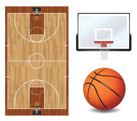 Una cancha de baloncesto, el baloncesto y el tablero y aro de ilustración. Vectoriales EPS 10 disponible. EPS contiene transparencias y malla de degradado.