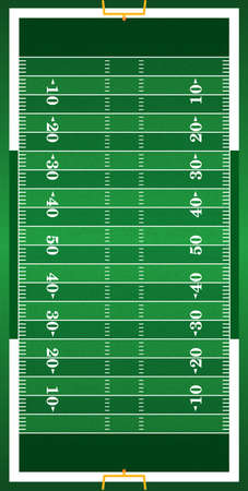 A vertical grass textured American football field illustration. EPS 10. File contains transparencies. Stock Illustratie
