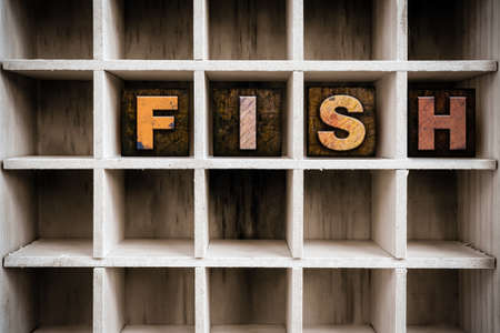 fish type: The word FISH written in vintage ink stained wooden letterpress type in a partitioned printers drawer.
