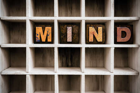 insanity: The word MIND written in vintage ink stained wooden letterpress type in a partitioned printers drawer.