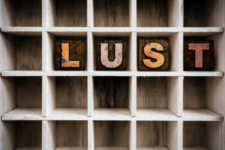 covet: The word LUST written in vintage ink stained wooden letterpress type in a partitioned printers drawer. Stock Photo