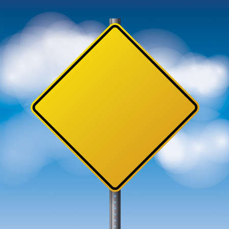sign pole: A realistic yellow road sign over a blue clouded sky illustration. Room for copy. Vector EPS 10 available. Illustration