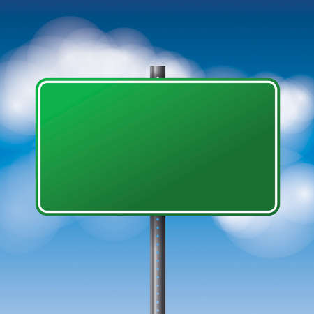 photo realism: A realistic green road sign over a blue clouded sky illustration. Room for copy. Vector EPS 10 available.