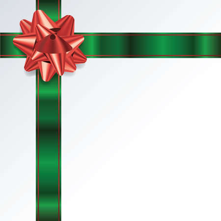 photo realism: An illustration of a red and green bow and ribbon on a Christmas background. Vector EPS 10 available. EPS file contains transparencies and gradient mesh.