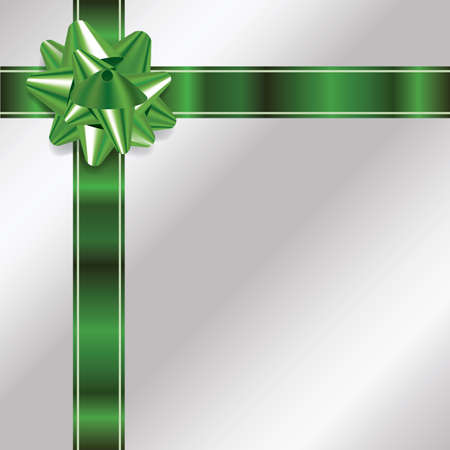 photo realism: An illustration of a green bow and ribbon on a silver Christmas background. Vector EPS 10 available. EPS file contains transparencies and gradient mesh.