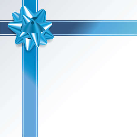 photo realism: An illustration of a blue bow and ribbon on a gift background. Vector EPS 10 available. EPS file contains transparencies and gradient mesh.
