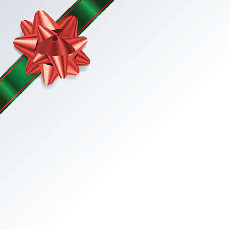 An illustration of a green and red bow and ribbon on a Christmas background. Vector EPS 10 available. EPS file contains transparencies and gradient mesh.
