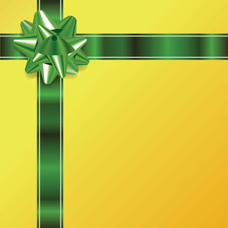 green ribbon: An illustration of a green bow and ribbon on a golden Christmas background. Vector EPS 10 available. EPS file contains transparencies and gradient mesh. Illustration