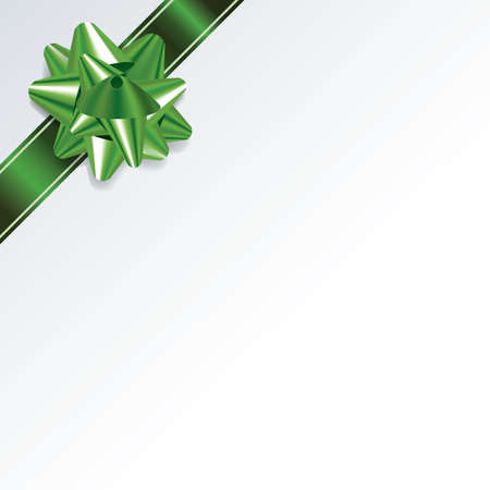 photo realism: An illustration of a green bow and ribbon on a white Christmas background. Vector EPS 10 available. EPS file contains transparencies and gradient mesh.