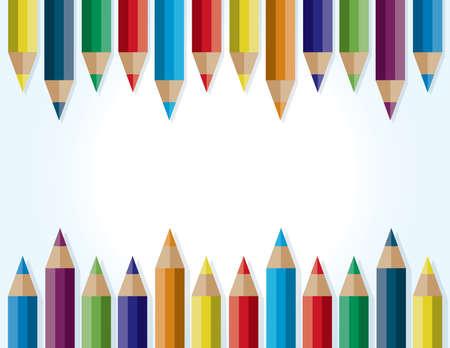 상단 및 하단에 색깔 된 연필에 의해 둘러싸여있는 배경. 벡터 EPS 10 사용할 수 있습니다. 복사 할 방.