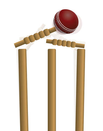 A cricket ball hitting the wicket isolated on white. Vector EPS 10 available. EPS file contains transparencies and gradient mesh.
