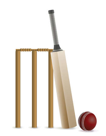 photo realism: Cricket bat, ball, and wicket isolated on white. Vector EPS 10 available. EPS file contains transparencies and gradient mesh.