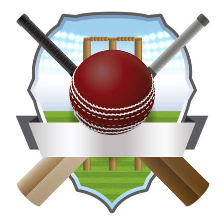 Cricket bats and ball in front of a wicket and athletic badge. Vector EPS 10 available. EPS contains transparencies and gradient mesh. Ilustracja