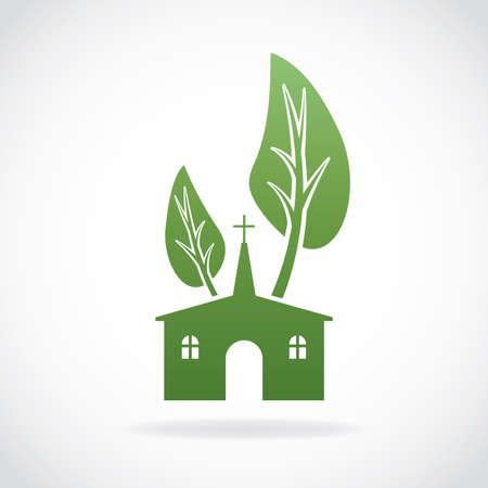 sembrando un arbol: Una creciente iglesia cristiana tema de iconos ilustración. Vector EPS 10 disponible.
