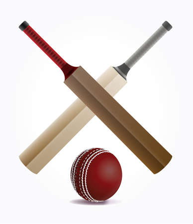 Crossed cricket bats and a ball isolated on white. Vector EPS 10 available. EPS file contains transparencies and a gradient mesh.