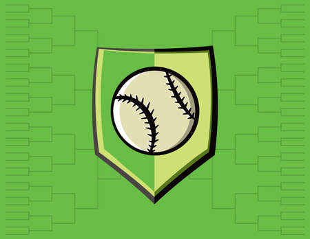 tournament bracket: A baseball emblem with tournament bracket. Vector EPS 10 available. Illustration