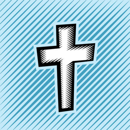 catholicism: An illustration of a Christian cross created in hatched scratchboard illustrative technique. Vector EPS 10 available. Illustration