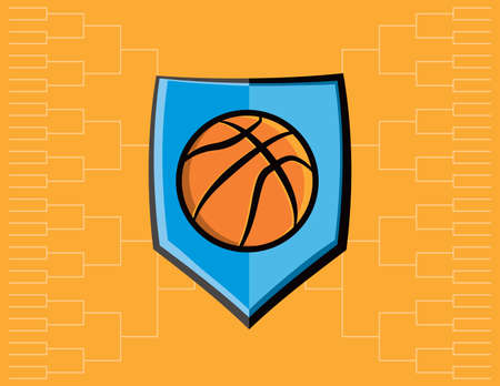 tournament bracket: A basketball emblem with tournament bracket. Vector EPS 10 available.