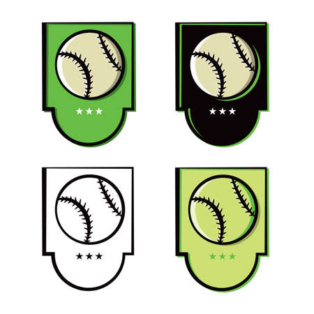A set of baseball emblems and icons in various shades and colors. Vector EPS 10 available.