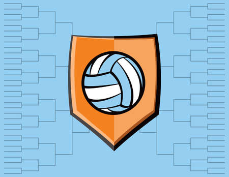 A volleyball emblem with tournament bracket. Vector EPS 10 available.