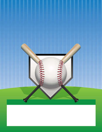 baseball field: A baseball tournament flyer illustration. Room for copy space.