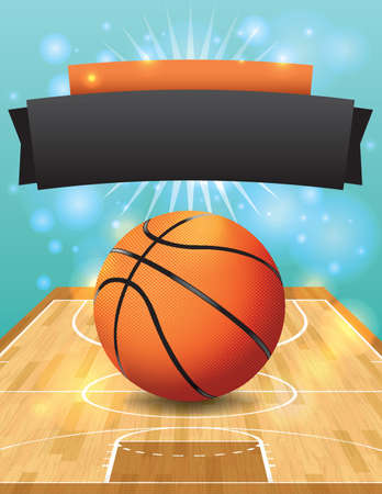 A vector illustration of a basketball on a hardwood court.