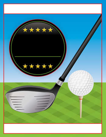 An illustration for a golf flyer. Perfect for golf tournaments and events.  Çizim