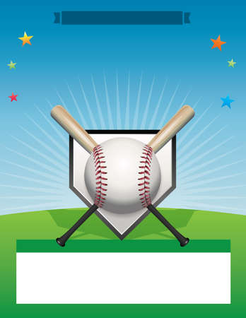 fields: A baseball background flyer illustration. Room for copy space.  Illustration