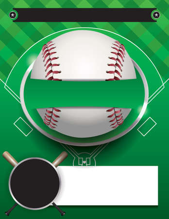 brochure template: A baseball tournament flyer illustration. Room for copy space.