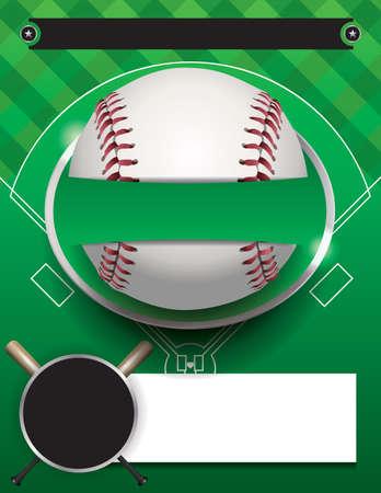 sjabloon: Een honkbal toernooi flyer illustratie. Ruimte voor kopie ruimte.