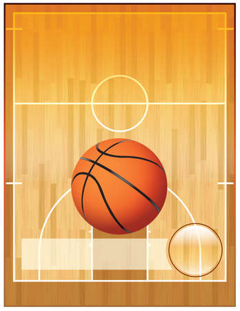 basketball court: A basketball league flyer or poster perfect for basketball announcements, games, leagues, camps, and more. Illustration