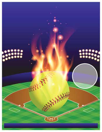 ソフトボール大会のイラスト。