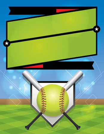 A vector illustration for a softball league flyer.