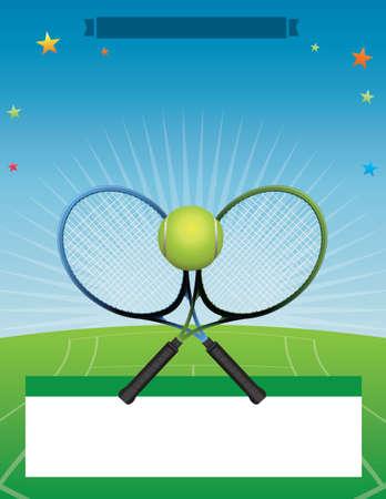 tennis racquet: A tennis tournament illustration.