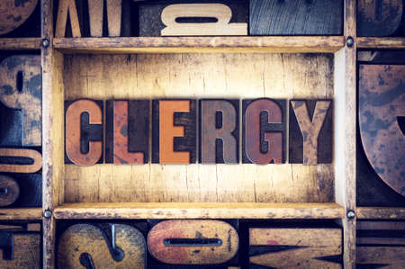 clergy: The word Clergy written in vintage wooden letterpress type. Stock Photo