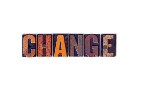 revise: The word Change written in isolated vintage wooden letterpress type on a white background. Stock Photo