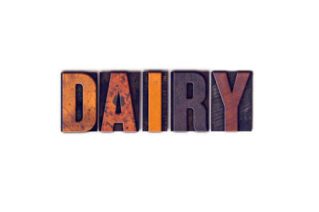 lactose intolerant: The word Dairy written in isolated vintage wooden letterpress type on a white background.