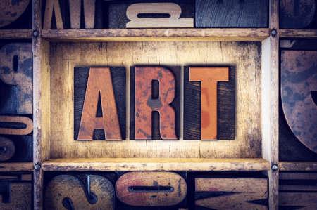 letterpress type: The word Art written in vintage wooden letterpress type. Stock Photo