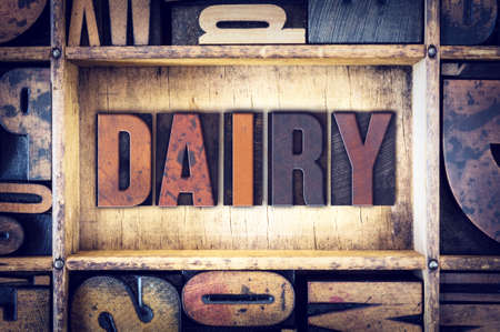 lactose intolerant: The word Dairy written in vintage wooden letterpress type. Stock Photo