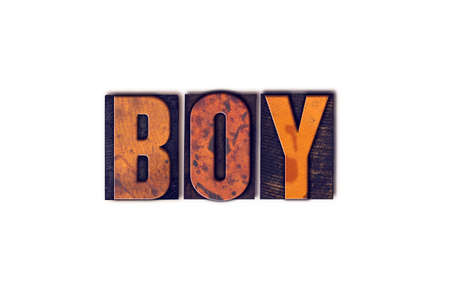 boyhood: The word Boy written in isolated vintage wooden letterpress type on a white background.