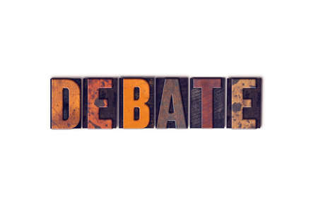 rebuttal: The word Debate written in isolated vintage wooden letterpress type on a white background.