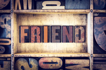 soul mate: The word Friend written in vintage wooden letterpress type. Stock Photo