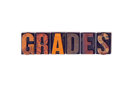 grades: The word Grades written in isolated vintage wooden letterpress type on a white background. Stock Photo