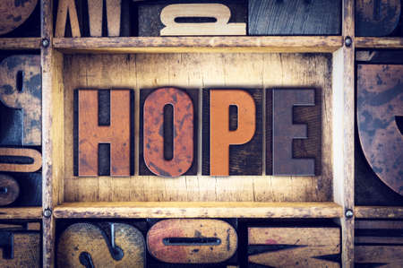 hope: The word Hope written in vintage wooden letterpress type. Stock Photo
