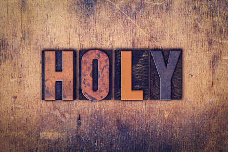 baptize: The word Holy written in dirty vintage letterpress type on a aged wooden background. Stock Photo
