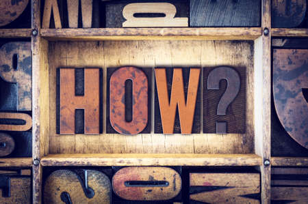 how to: The word How written in vintage wooden letterpress type. Stock Photo