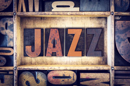 The word Jazz  written in vintage wooden letterpress type.