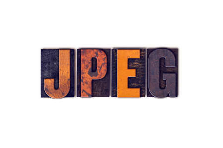 jpeg: The word JPEG written in isolated vintage wooden letterpress type on a white background.